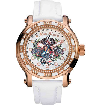 MARC ECKO The Flyaway White Leather Strap