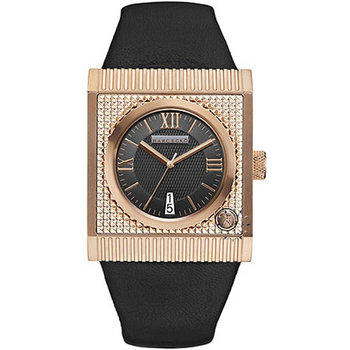Marc Ecko Rose Gold Men's The Treasury Black Leather Strap