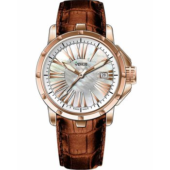 VENUS Rose Gold Brown Leather