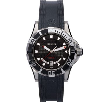 MICHEL HERBELIN Newport Trophy Black Leather Strap