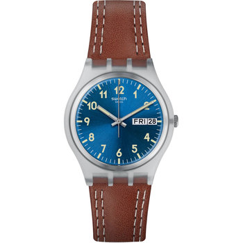 SWATCH Windy Dune Brown Leather Strap