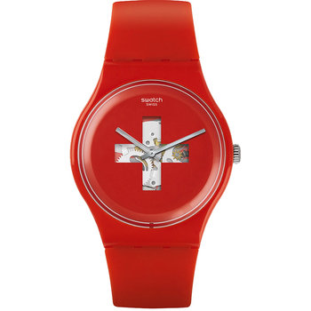 SWATCH Swiss Around The Clock Red Silicone Strap