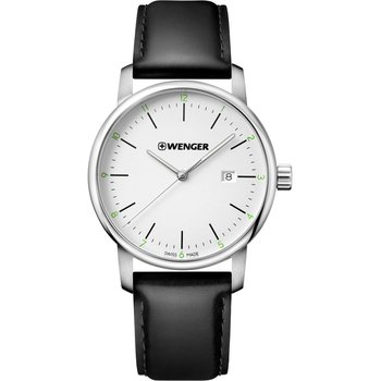 WENGER Urban Classic Black Leather Strap