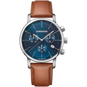 WENGER Urban Classic Chronograph Brown Leather Strap
