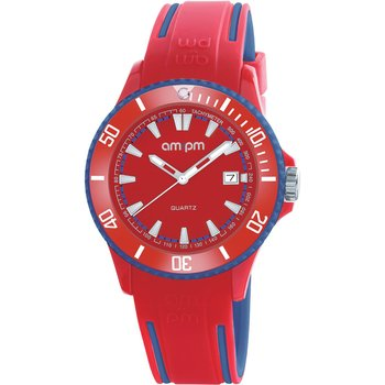 AM:PM Club Red Rubber Strap