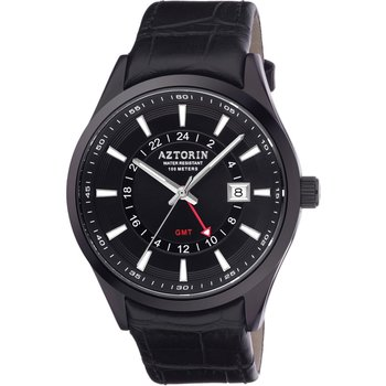 AZTORIN Sport Dual Time Black Leather Strap