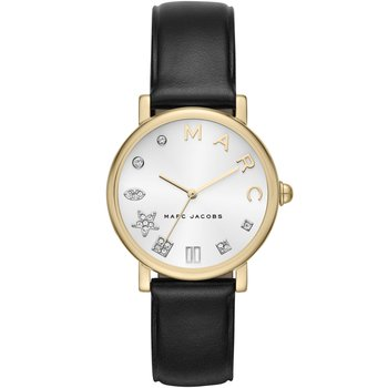 MARC JACOBS Classic Crystals Black Leather Strap