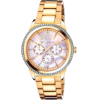 ELIXA Enjoy Crystals Gold Stainless Steel Bracelet