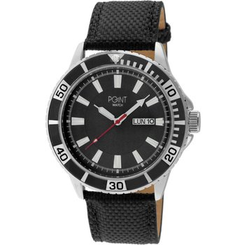 POINT WATCH Poseidon Black Leather Strap