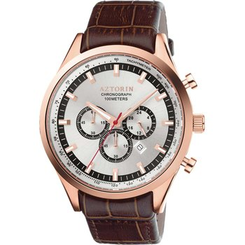 AZTORIN Sport Chronograph Brown Leather Strap