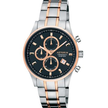 AZTORIN Casual Chronograph Two Tone Stainless Steel Bracelet