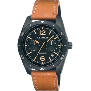 AZTORIN Casual Dual Time Brown Leather Strap