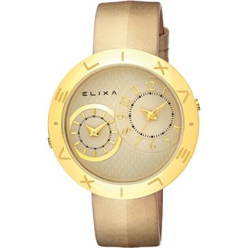 ELIXA Enjoy Dual Time Gold Leather Strap