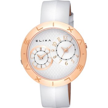 ELIXA Enjoy Dual Time White Leather Strap