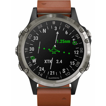 GARMIN D2 Delta Aviator Watch with Brown Leather Strap