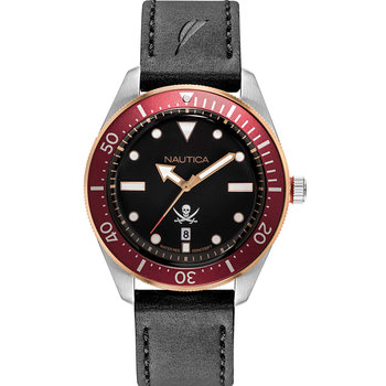 NAUTICA Hillcrest Black Leather Strap