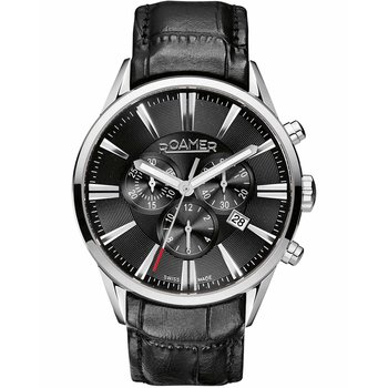 ROAMER Superior Chronograph Black Leather Strap