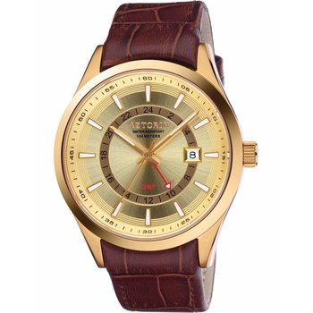 AZTORIN Sport Dual Time Brown Leather Strap