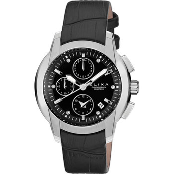 ELIXA Enjoy Crystals Chronograph Black Leather Strap