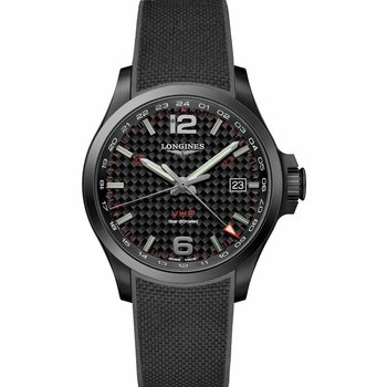 LONGINES Conquest V.H.P GMT Black Rubber Strap