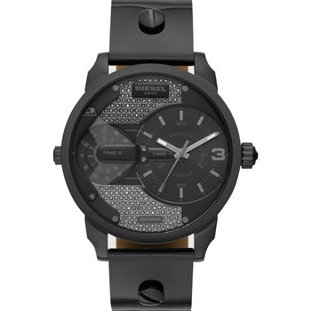 DIESEL Mini Daddy Dual Time Black Leather Strap