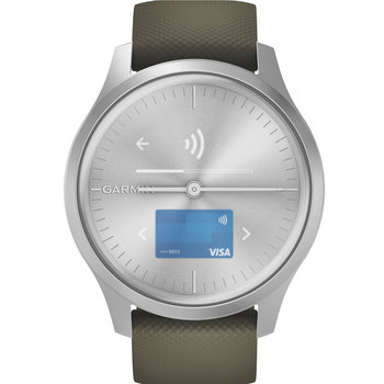 GARMIN Vivomove Style Moss Green Silicone with Silver Hardware