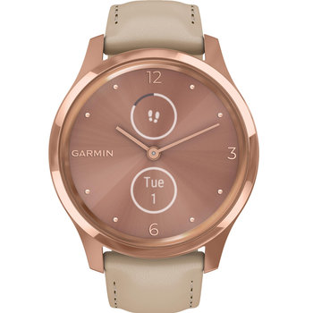 GARMIN Vivomove Luxe Light Sand Leather with 18K Rose Gold Hardware