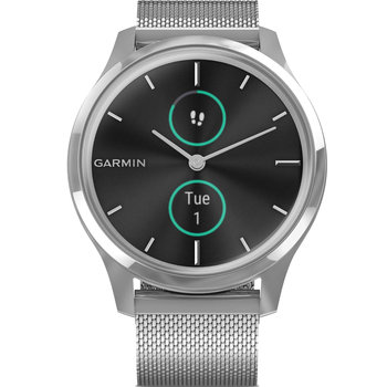 GARMIN Vivomove Luxe Milanese with Silver Hardware