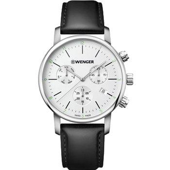 WENGER Urban Classic Chronograph Black Leather Strap