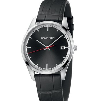 CALVIN KLEIN time black leather strap
