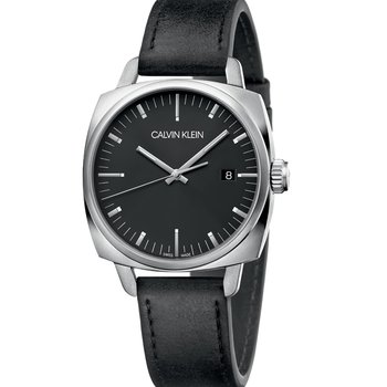 CALVIN KLEIN fraternity black leather strap