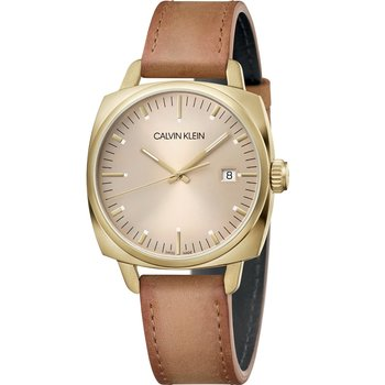 CALVIN KLEIN fraternity brown leather strap