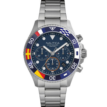 NAUTICA Wesport Flags Chrono Silver Stainless Steel Bracelet