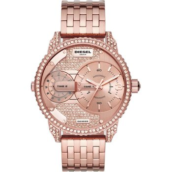 DIESEL Mini Daddy Crystals Dual Time Rose Gold Stainless Steel Bracelet