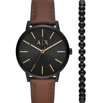 ARMANI EXCHANGE Cayde Brown Leather Strap Gift Set