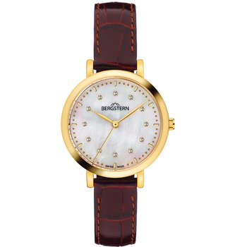 BERGSTERN Brilliance Crystals Brown Leather Strap