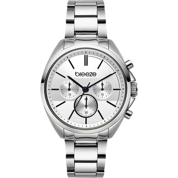 BREEZE GlowRaider Chronograph Silver Stainless Steel Bracelet