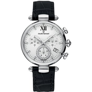 CLAUDE BERNARD Dress Code Crystals Chronograph Black Leather Strap