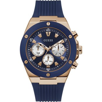 GUESS Mens Blue Rubber Strap