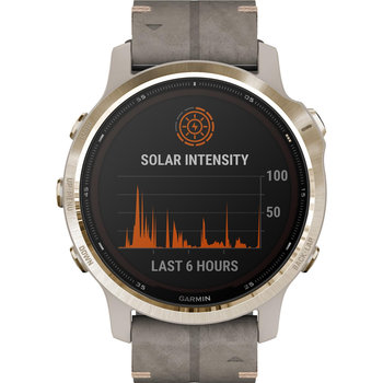 GARMIN Fenix 6S Pro Solar Light Gold with Shale Suede Band