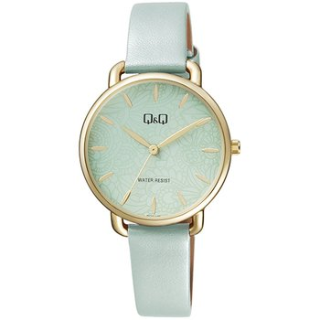 Q&Q Ladies Green Leather Strap