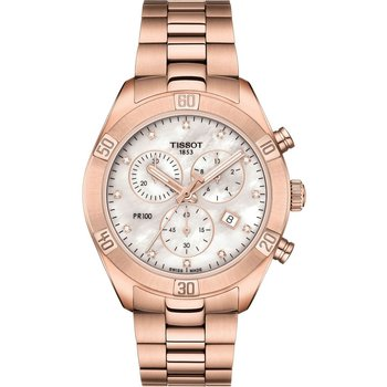 TISSOT T-Classic PR 100 Sport Chic Crystals Chronograph Rose Gold Stainless Steel Bracelet