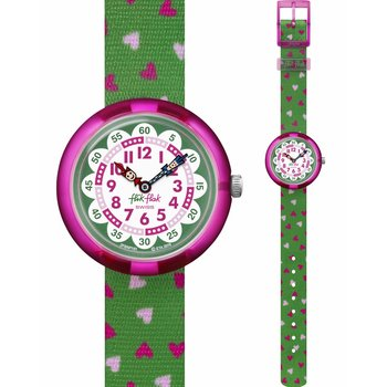 FLIK FLAK City of Life Heartistic Green Fabric Strap
