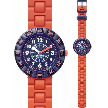 FLIK FLAK City of Life Orangebrick Orange Silicone Strap