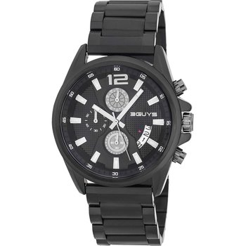 3GUYS Gents Chronograph Black Stainless Steel Bracelet