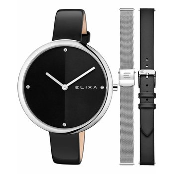 ELIXA Beauty Crystals Black Leather Strap Gift Set