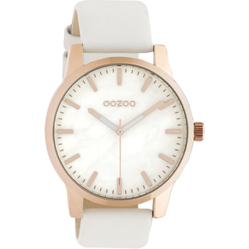 OOZOO Timepieces White Leather Strap