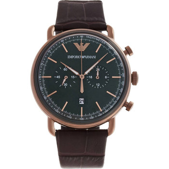 Emporio ARMANI Aviator Chronograph Brown Leather Strap