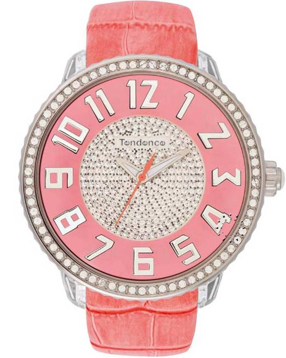 TENDENCE Glam Full Stones Pink Leather Strap