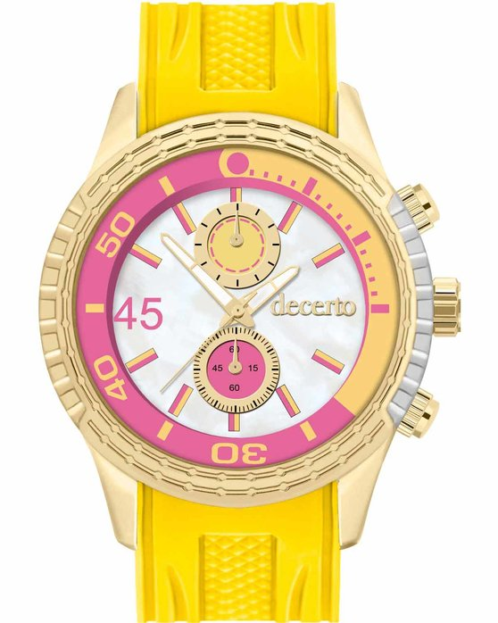 DECERTO Ice-Lolly Gold Alloy Yellow Rubber Strap